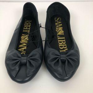 NWOT Sam & Libby Navy Chelsea Bow Ballet Flats